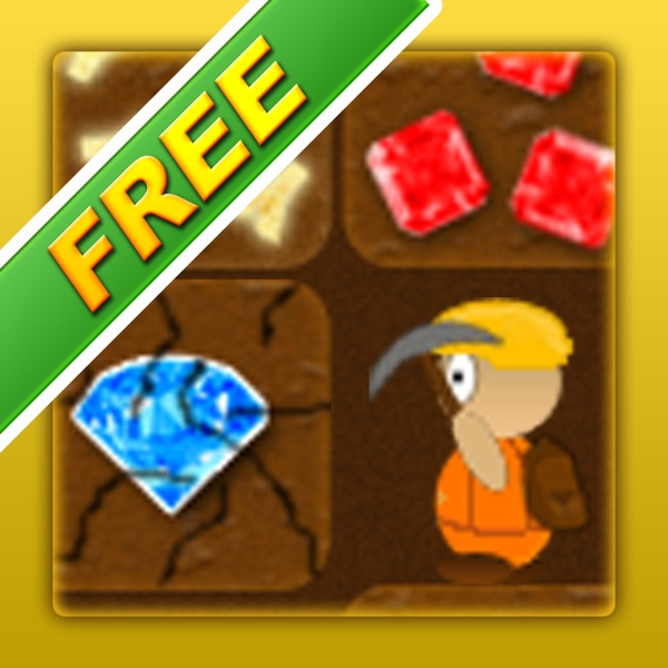 Treasure Miner Free - a 2d gem and gold mining sandbox adventure
