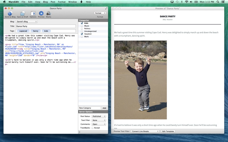 MarsEdit - for WordPress, Tumblr, Blogger, etc. Screenshot