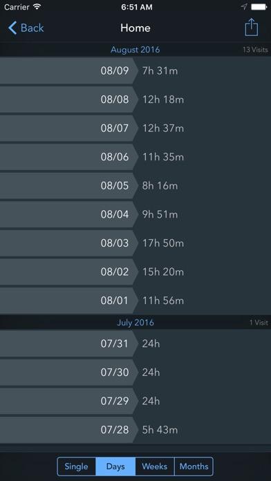 Screenshot do app Geofency Time Tracking