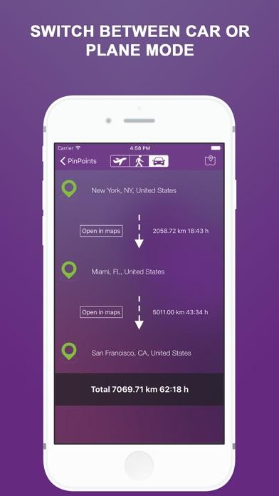 Screenshot do app Pin Points - Flight, Driving Distance Calculator