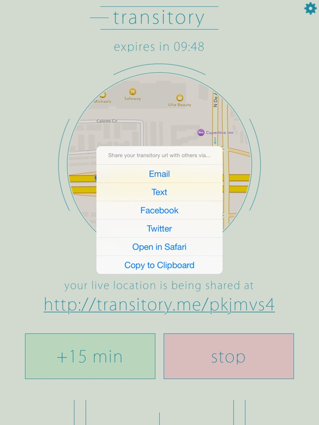 Transitory -- Share Your GPS Location Screenshot