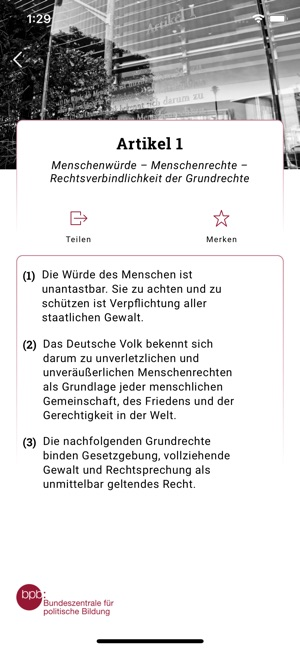 bpb: Das Grundgesetz Screenshot