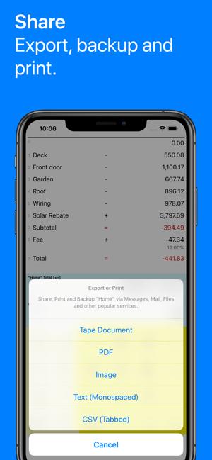 Digits Tape Calculator Screenshot