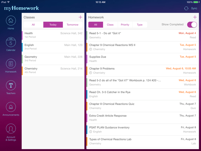 myHomework Student Planner Screenshot