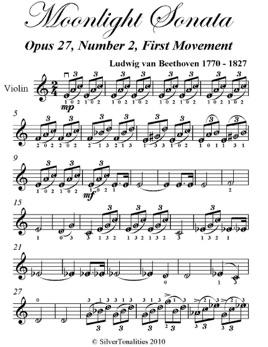 Moonlight Sonata Easy Violin Sheet