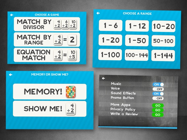 Division Flashcard partite Giochi per Bambini in 2 °, 3 ° e 4 ° grado Learning Flash Cards gratuiti Screenshot