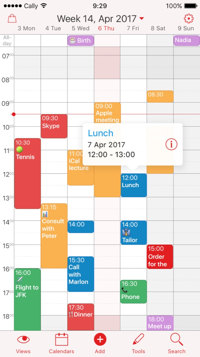Week Calendar Screenshot