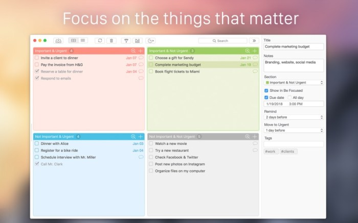 Focus Matrix – Task Manager Screenshot 01 9nlslcn