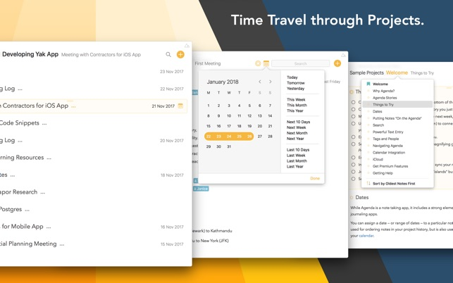Agenda – A new take on notes Screenshot