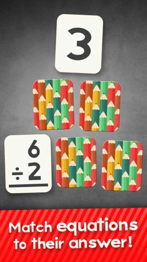Division Flashcard partite Giochi per Bambini in 2 °, 3 ° e 4 ° grado Learning Flash Cards gratuiti Screenshot