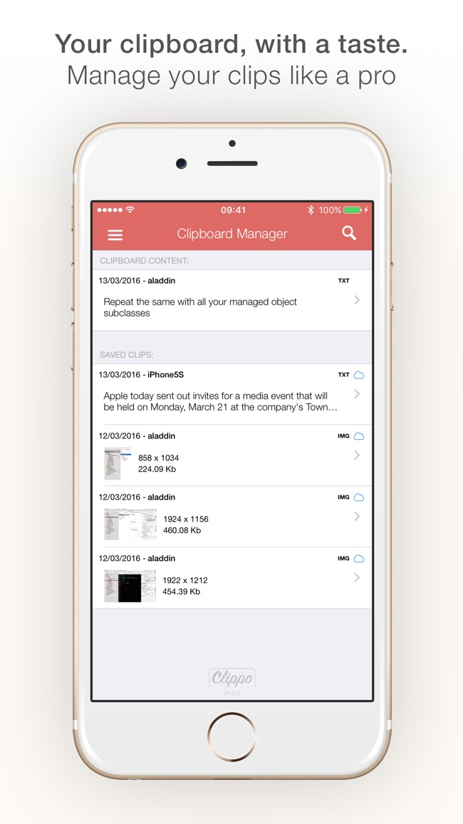 Clippo - Clipboard manager Screenshot