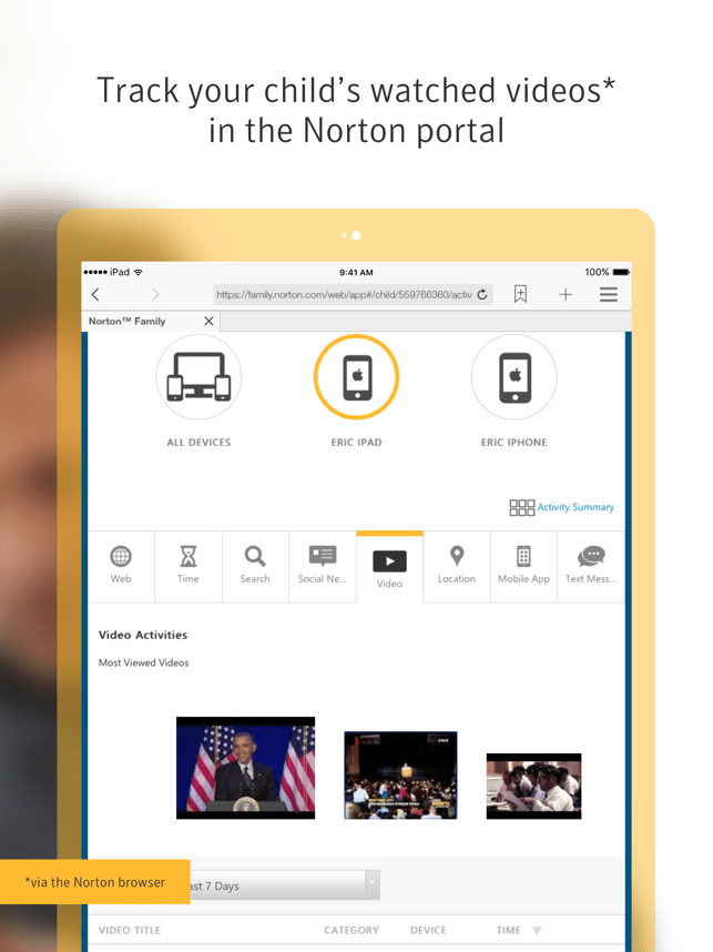 Norton Family parental control Screenshot