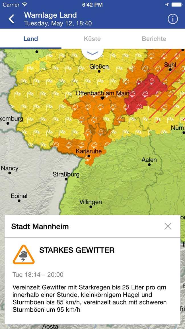WarnWetter Screenshot