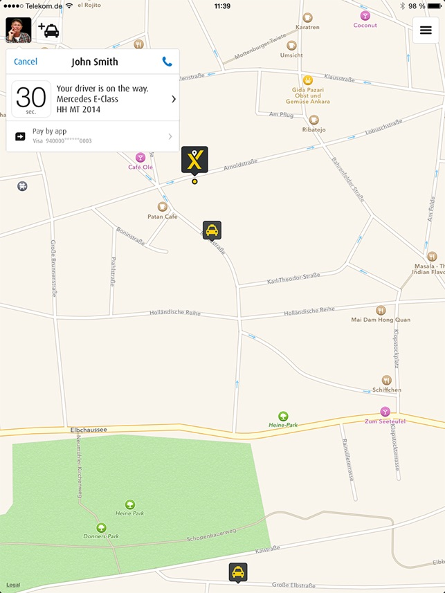 mytaxi - Lokale Taxis buchen Screenshot