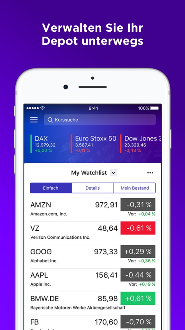 Yahoo Finanzen Screenshot