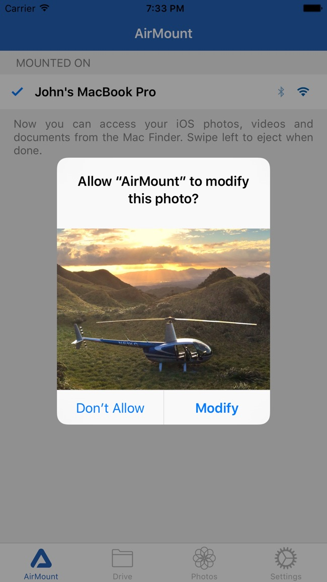 AirMount - drag and drop photos to computer Screenshot