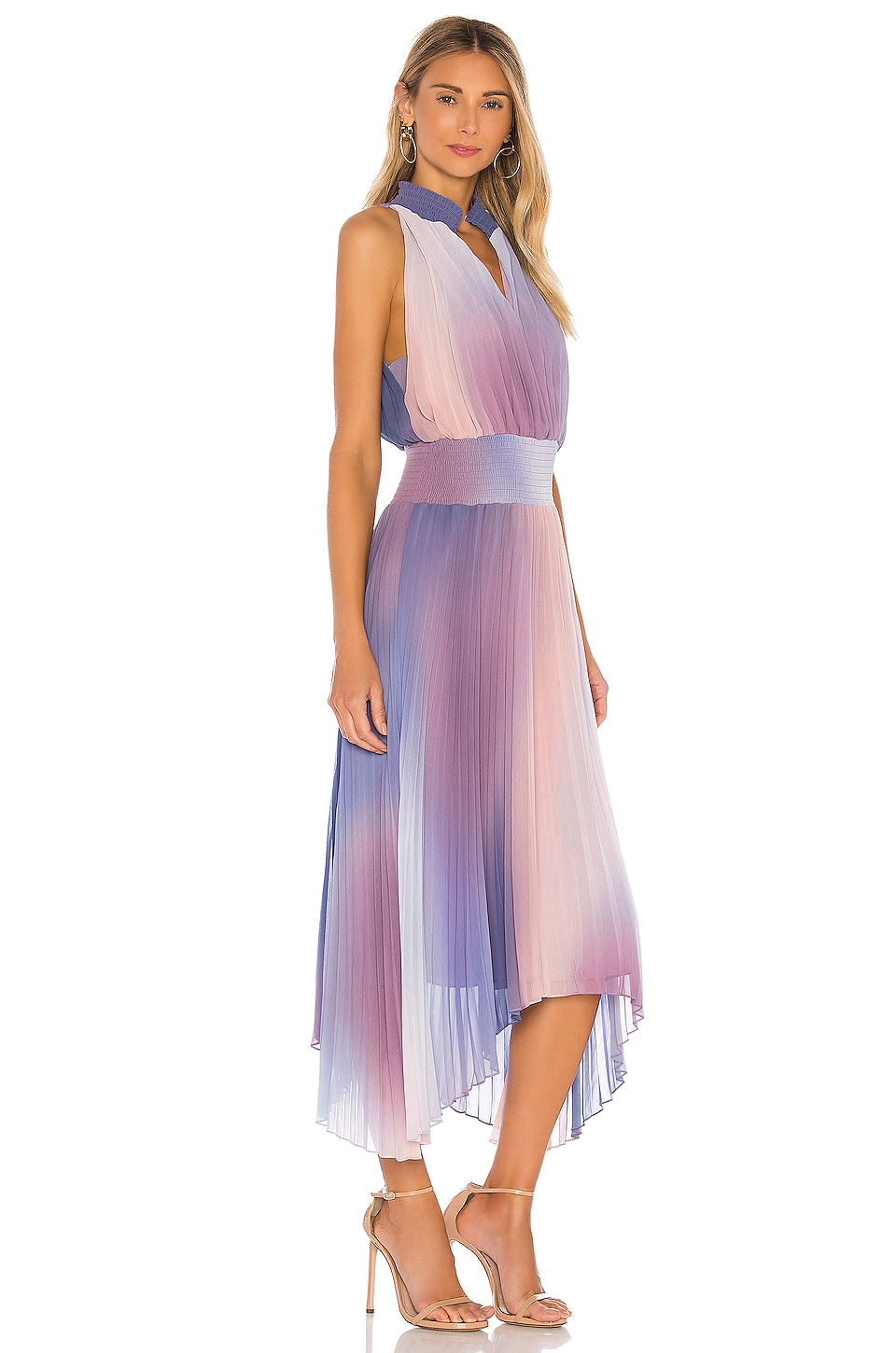 Halter Neck Pleated Midi Dress, view 2, click to view large image.