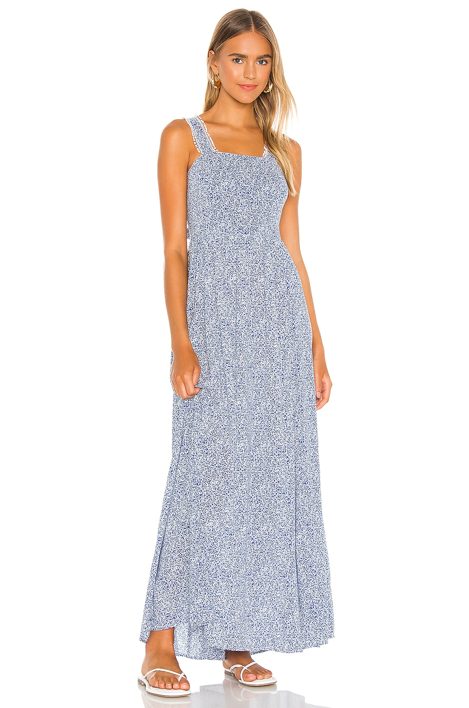 Tie Back Vintage Ditsy Maxi Dress, view 2, click to view large image.
