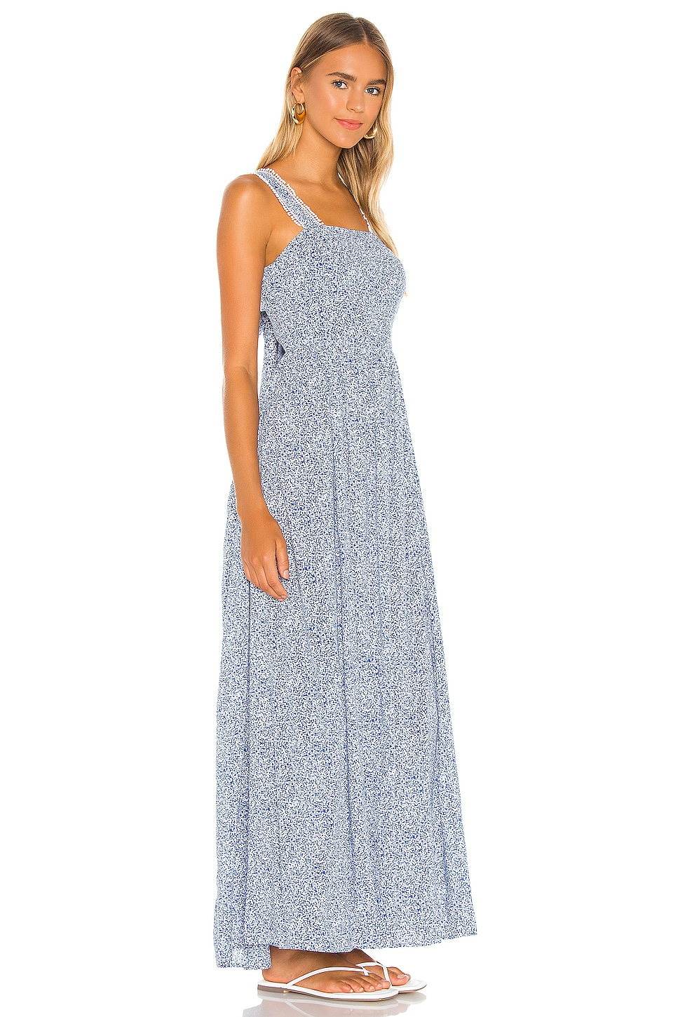 Tie Back Vintage Ditsy Maxi Dress, view 3, click to view large image.