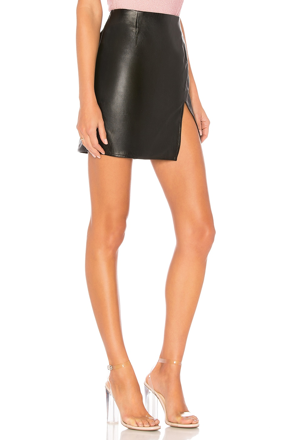 Trinity Faux Leather Skirt, view 2, click to view large image.