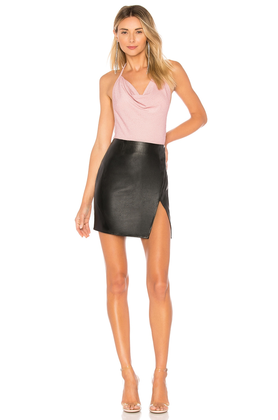 Trinity Faux Leather Skirt, view 4, click to view large image.