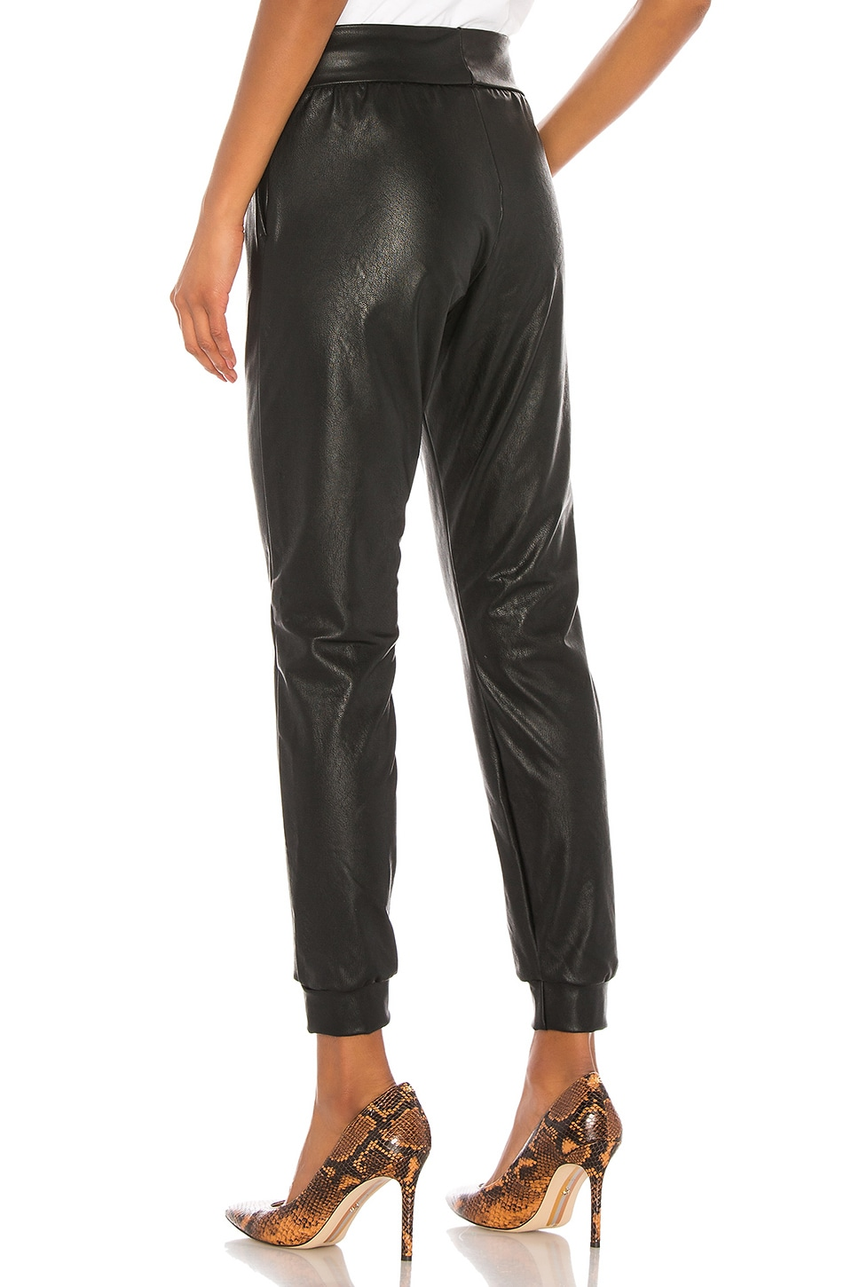 Faux Leather Jogger, view 3, click to view large image.