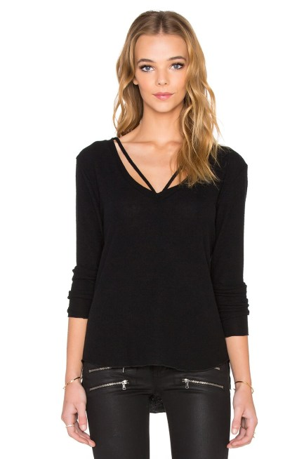 LNA Strappy Sweater in Black
