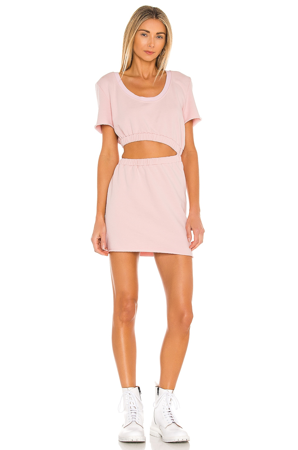 Lovers + Friends Cutout Sweater Dress in Soft Pink