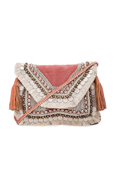SHASHI Leela Clutch in Coral