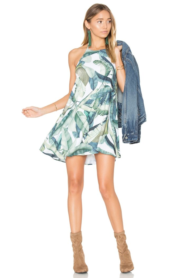 Show Me Your Mumu Katy Halter Dress in Banana Leaf
