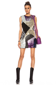 3.1 phillip lim Sculpted Waist Wool Dress with Twilight Embellishment in Metallics,Black