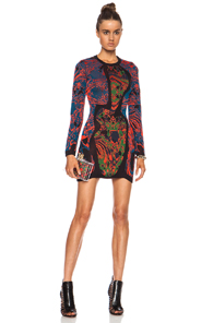 M Missoni Marble Scalloped Trim Viscose-Blend Dress in Abstract,Black,Blue,Red