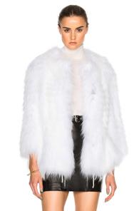 Yves Salomon Asiatic Raccoon Jersey Jacket in White