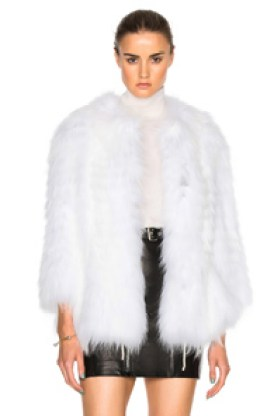 Yves Salomon Asiatic Raccoon Jersey Jacket in White