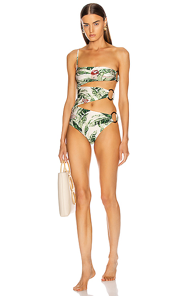 ADRIANA DEGREAS x Cult Gaia Tropical One Shoulder Swimsuit with Hoops in Green,Tropical. - size M (also in )