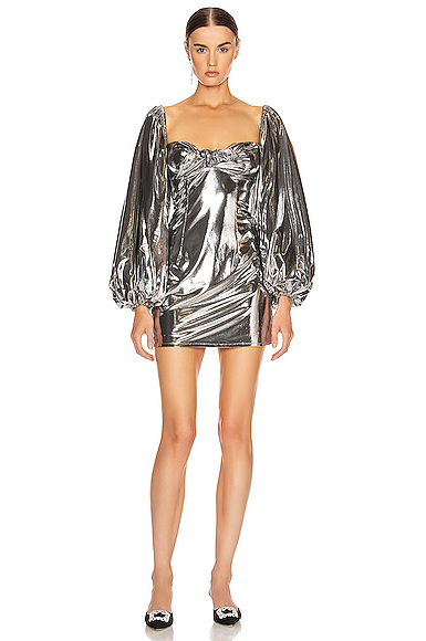 ATTICO Lame Mini Dress in Metallic Silver. - size 44 (also in 38,40,42)