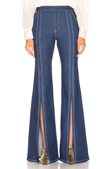 Chloe Flare Jean in Denim Dark. - size 38 (also in )