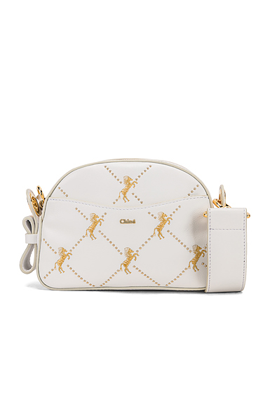 Chloe Mini Signature Embroidered Leather Bag in White.