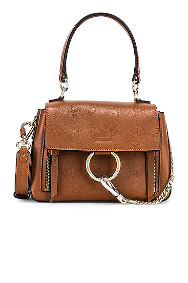 Chloe Mini Faye Calfskin & Suede Day Bag in Brown.
