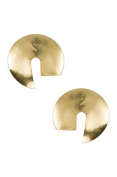 Fay Andrada Tayeh X-Large Earrings in Metallic Gold.