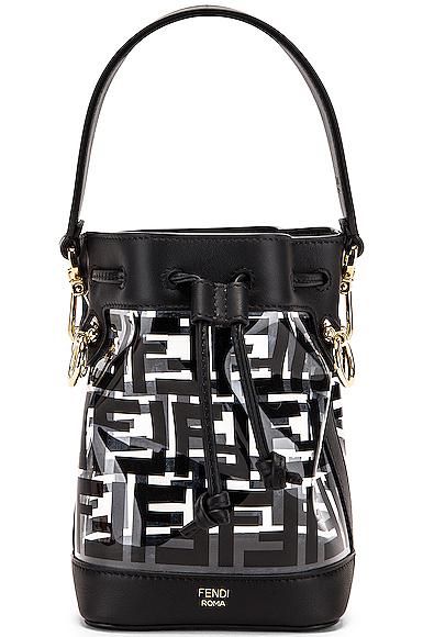 Fendi Mini Mon Tresor Logo Crossbody Bag in Black.