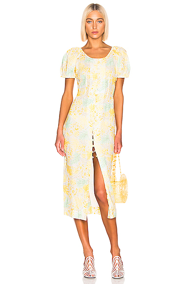 Cult Gaia Charlotte Dress in Floral,Yellow. - size L (also in M,S,XS)