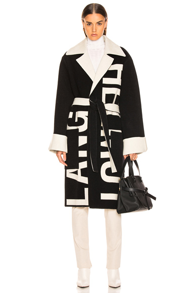 Helmut Lang Logo Coat in Black,Neutral. - size M (also in )