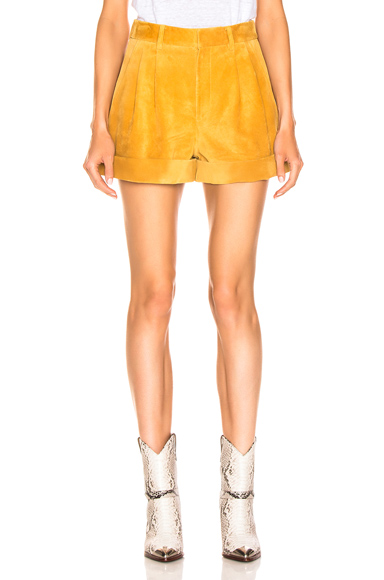 Isabel Marant Abot Suede Short in Yellow. - size 38 (also in 34,36,40,42)