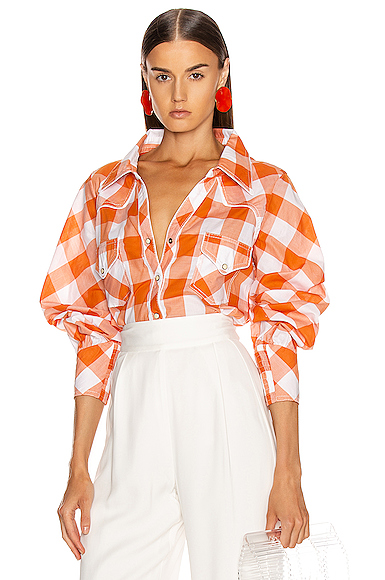 Johanna Ortiz Mountains of Sonora Top in Plaid,Orange. - size 6 (also in 2)