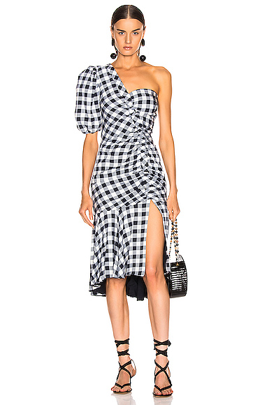 JONATHAN SIMKHAI Lux Twill One Sleeve Dress in Blue,Plaid. - size 8 (also in 0,2,4,6)