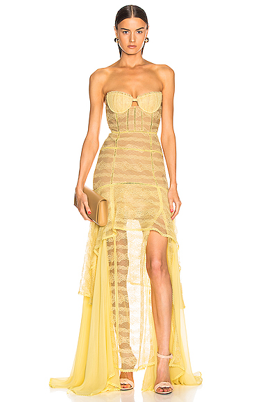 JONATHAN SIMKHAI Embroidered Chiffon Bustier Gown in Yellow. - size 2 (also in )