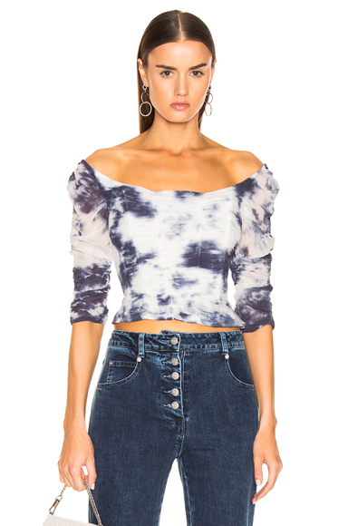 Miaou Madeline Top in Blue,Tie Dye,White. - size M (also in L,S,XS)