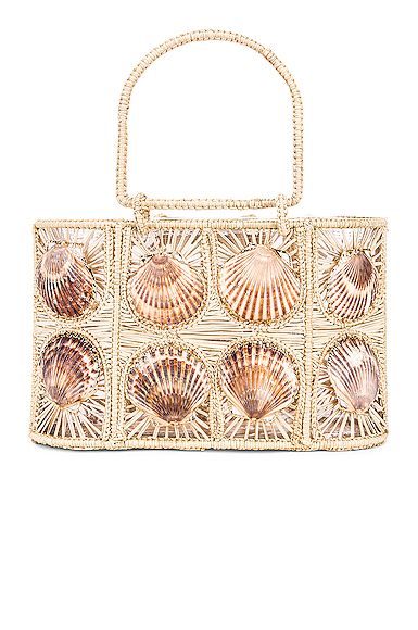 Mercedes Salazar Woven Shell Bag in Neutral.