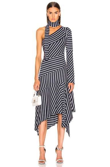 Monse Striped Chevron Jersey Dress in Blue,Stripes,White. - size 4 (also in 2)